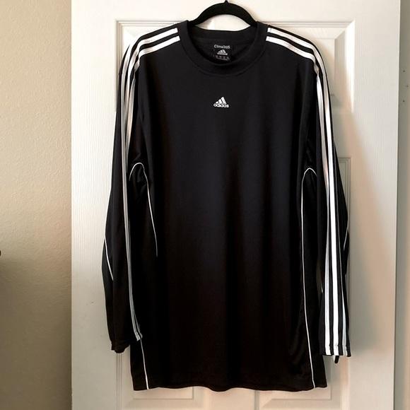 """adidas"" Athletic Shirt/Black with White Stripes"